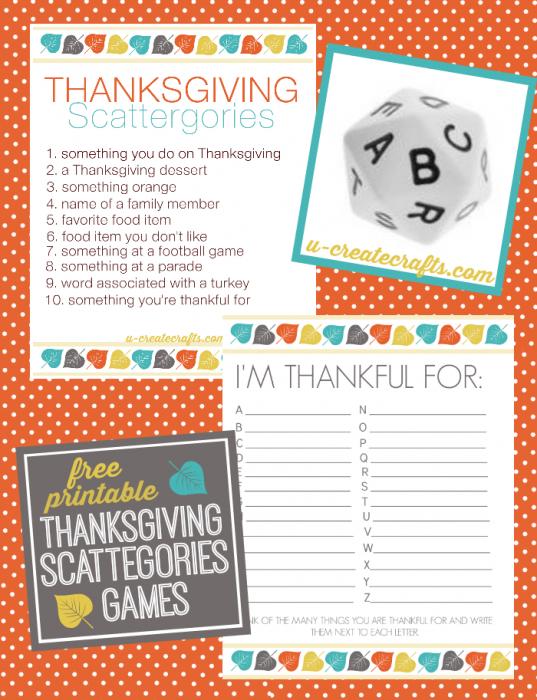 Thanksgiving Scattegories Printables - u-createcrafts.com