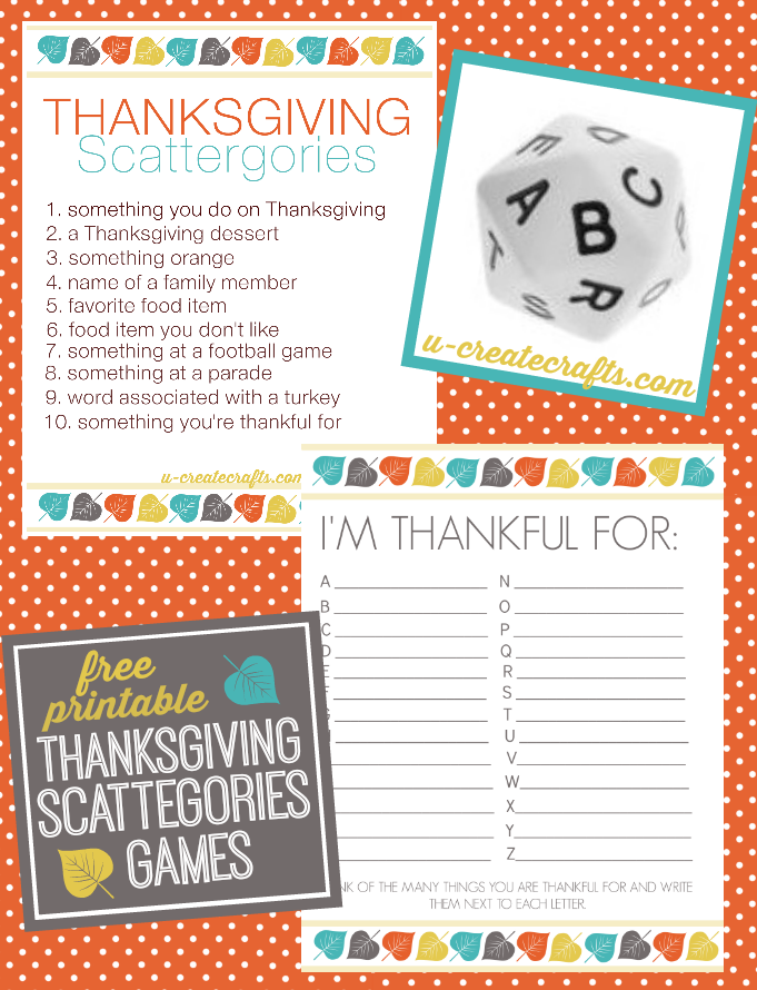 Thanksgiving Scattergories Printables U Create