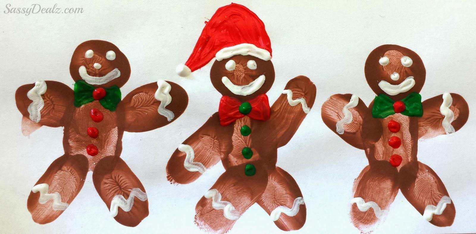 Gingerbread Man Fingerprint Art
