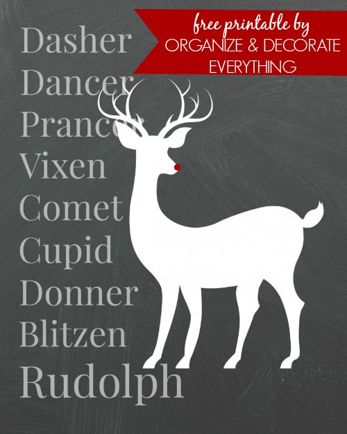 Rudolph Free Printable by Organize & Decorate Everything