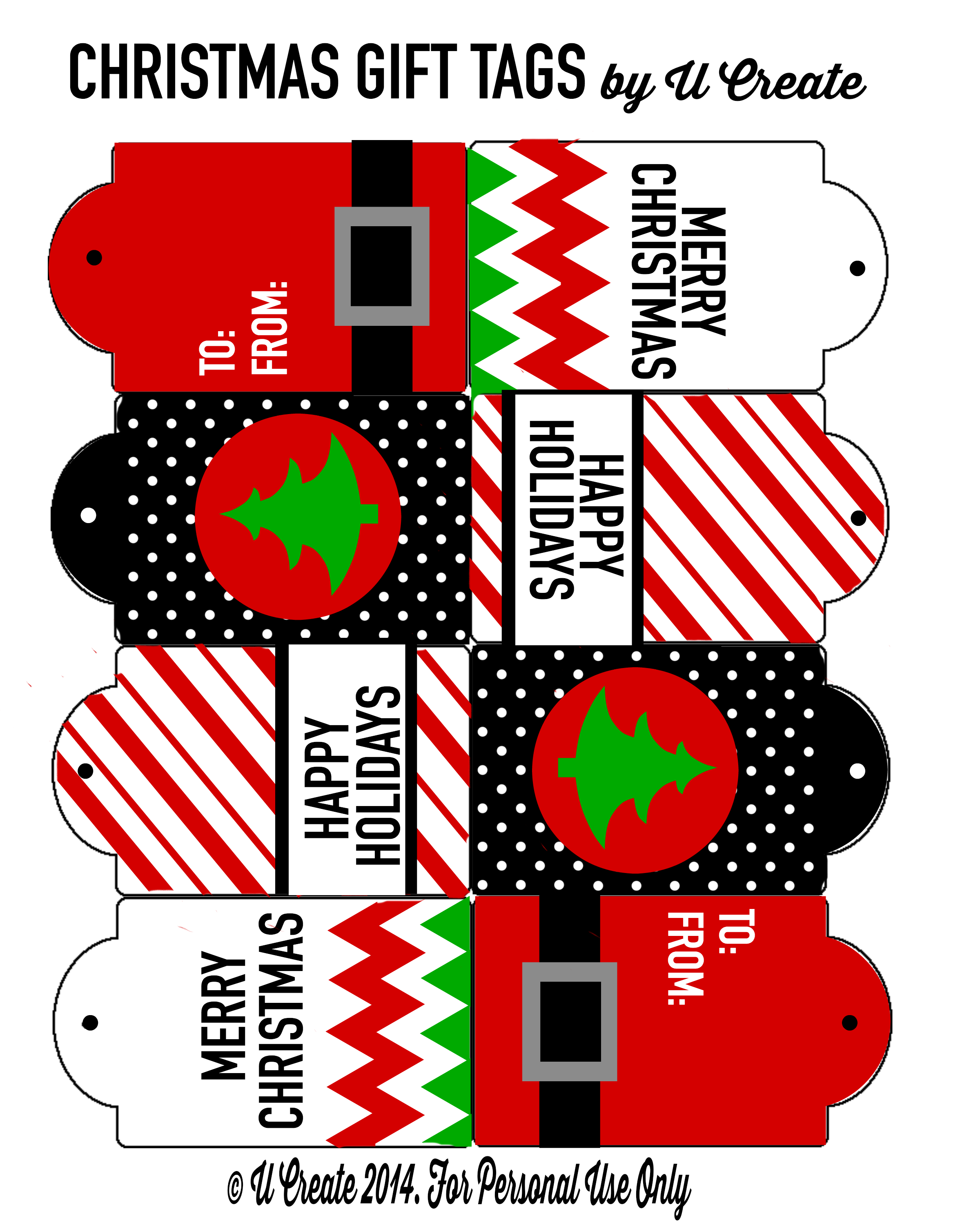Christmas Gift Tag Printables by U Create