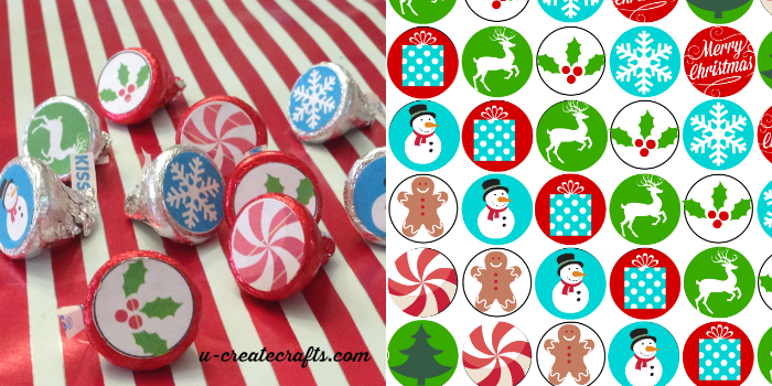 Free Printable Christmas Hershey's Kisses Stickers by U Create
