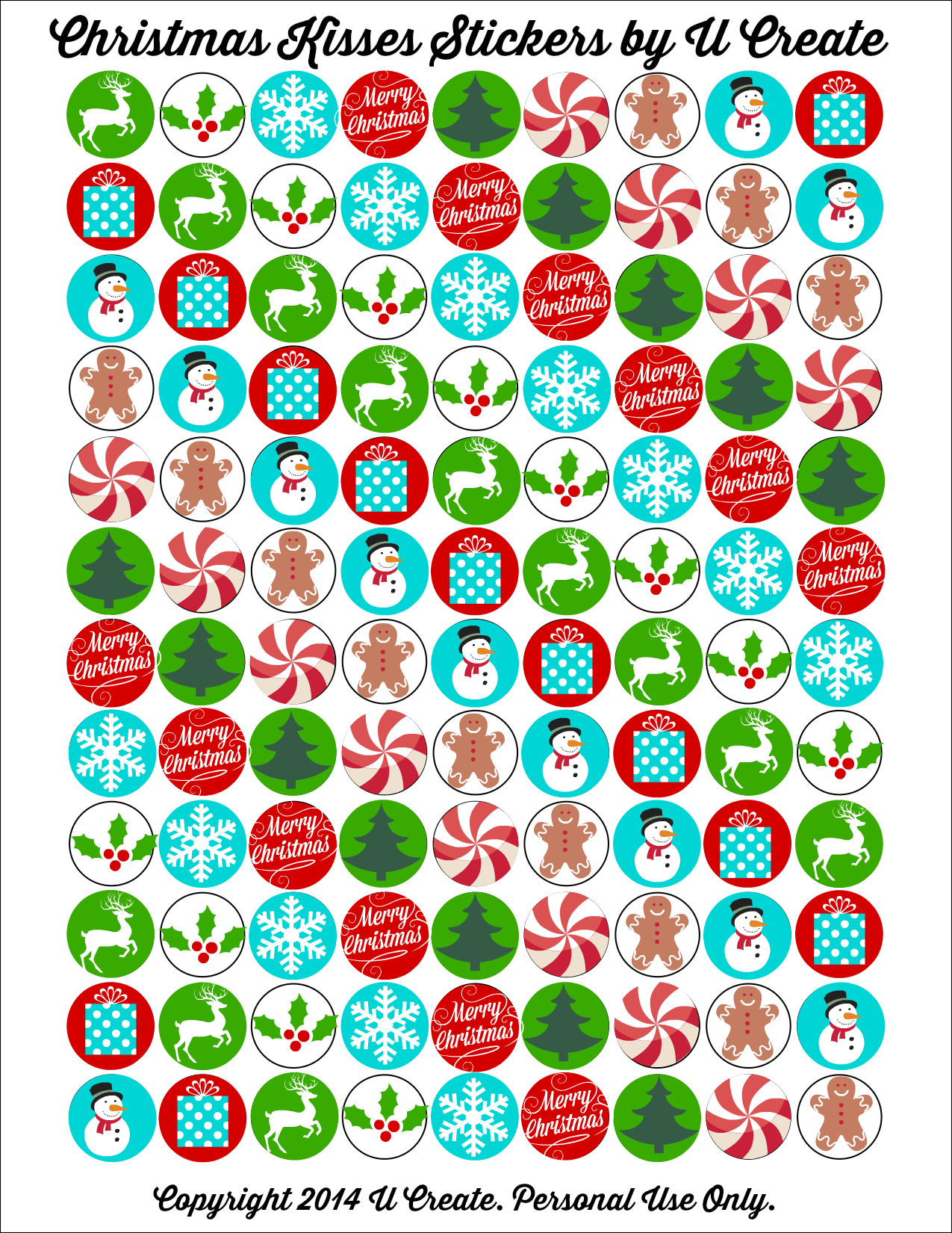 christmas kisses stickers
