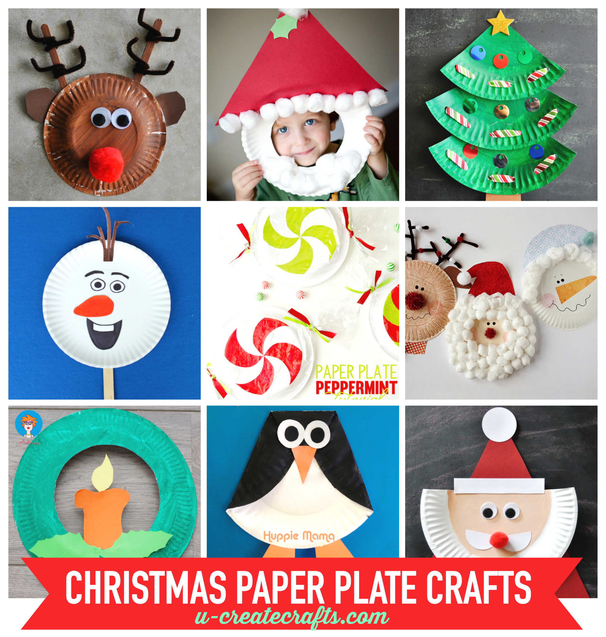 Paper plate christmas crafts u create for How to make craft