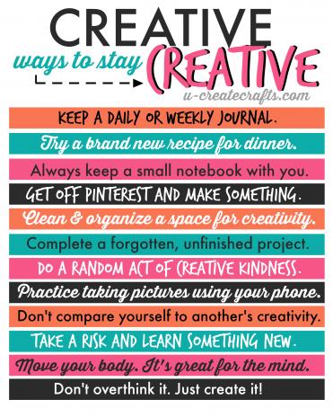 Creative Ways to Stay Creative by u-createcrafts.com