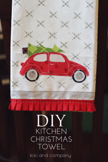 DIY Kitchen Christmas Towel and free template by Kiki and Company - aka cutest towel ever!