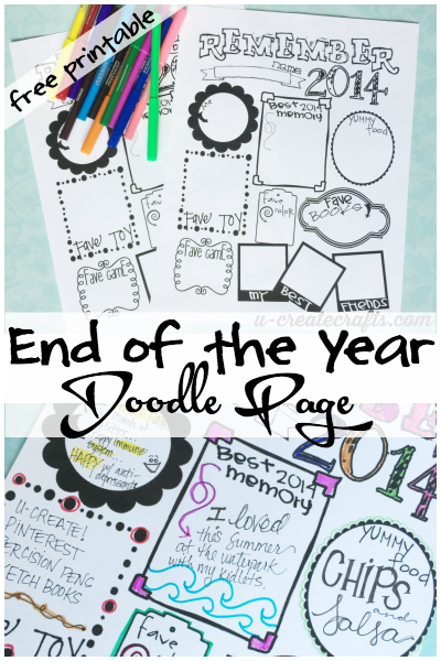 End of the Year Doodle Printable at u-createcrafts.com