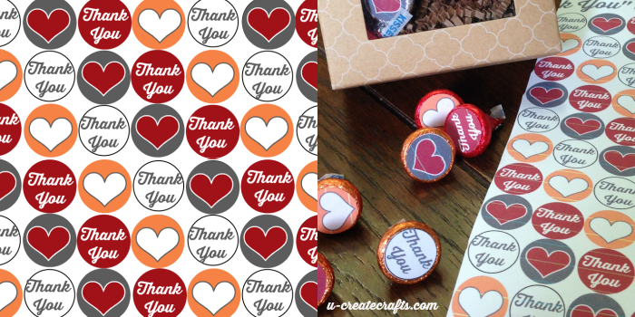 """THANK YOU"" Hershey's Kisses Stickers Printables by U Create"