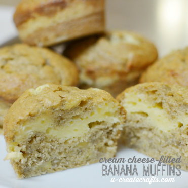 Banana Muffins with delicious cream cheese filling by U Create