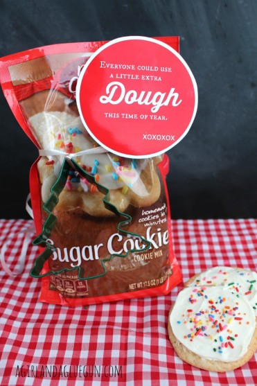 "A Little Extra ""Dough"" Christmas Neighbor Gift Idea by A Girl and A Glue Gun - free printable tag, too!"