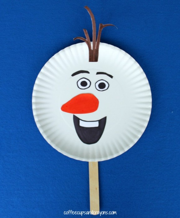 Olaf Paper Plate Puppet by Coffee Cups and Crayons
