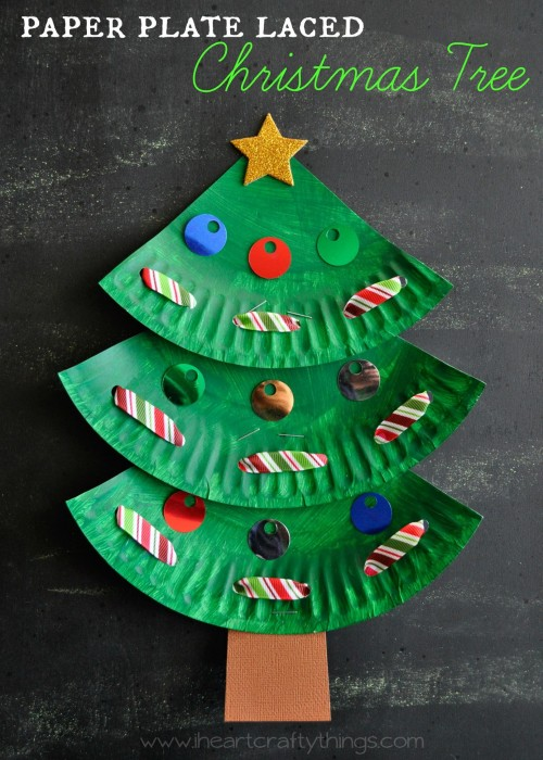 Paper Plate Christmas Tree Tutorial by I Heart Crafty Things