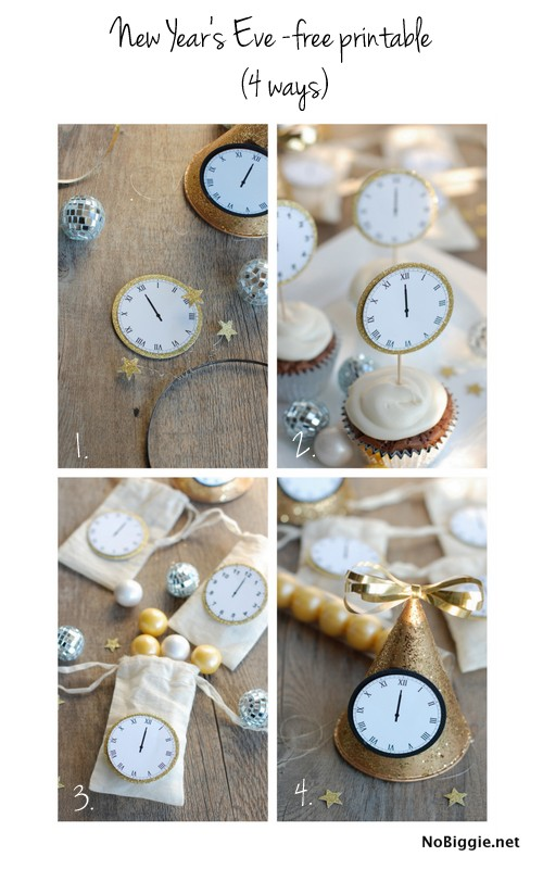 Printable Midnight Clocks for New Years by No Biggie
