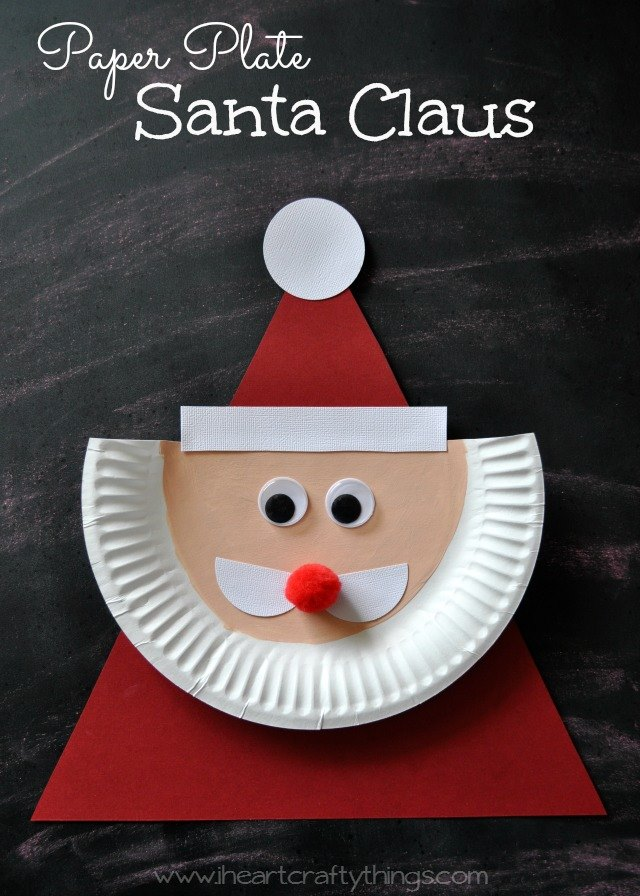 Santa Paper Plate Tutorial by I Heart Crafty Things & Paper Plate Christmas Crafts - U Create