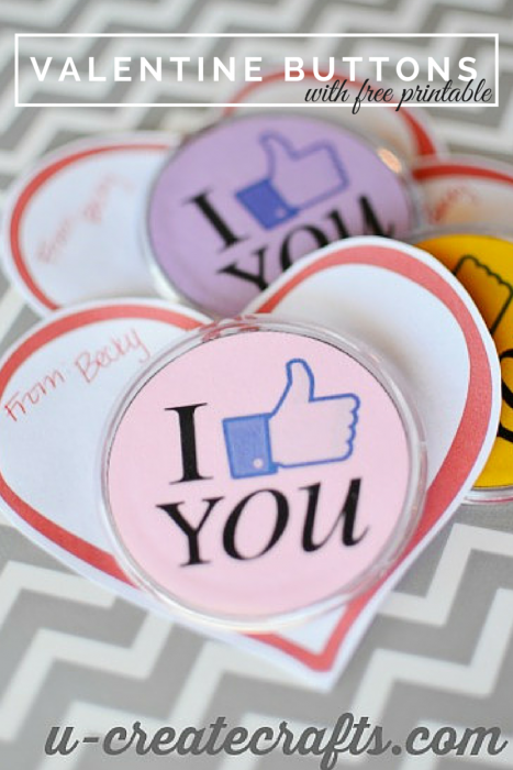 VALENTINE Button Pins at u-createcrafts.com