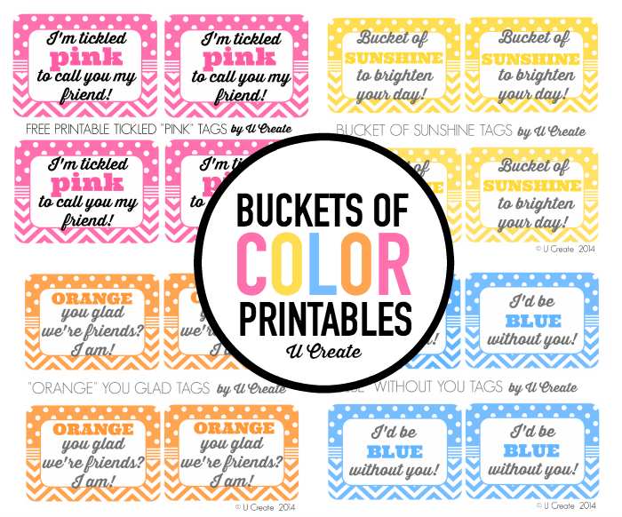 Buckets of Color gift idea and free printable tags!