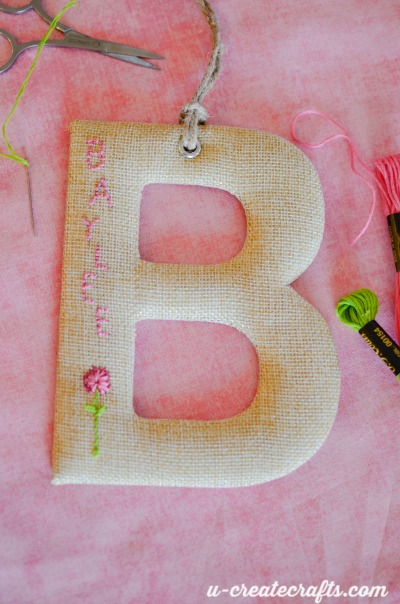 Burlap stitching on Target monogram