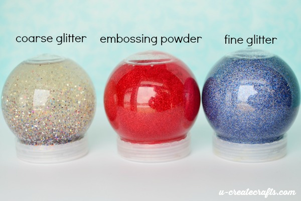 Different kinds of glitter globes