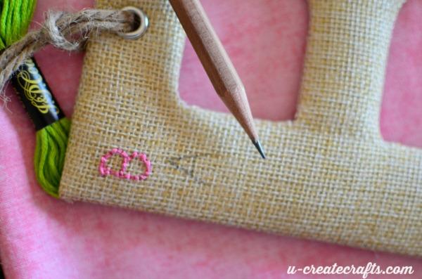 Personalized stitching on burlap