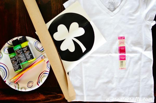 Shamrock stamped shirt supplies