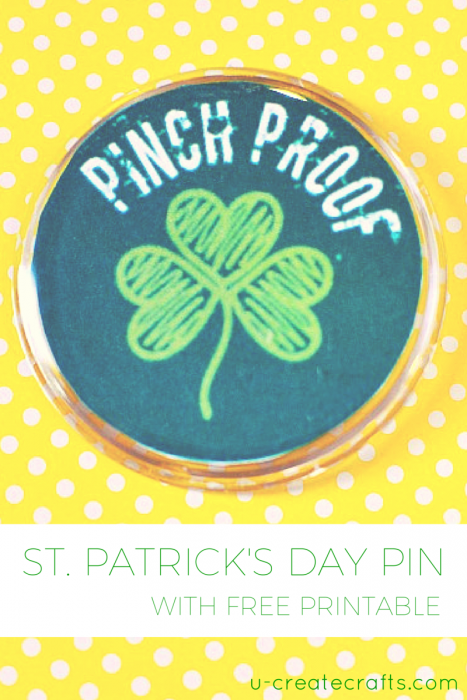 St Patricks Day Pin with free printable