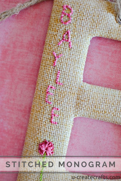 Stitched Monogram tutorial at u-createcrafts.com