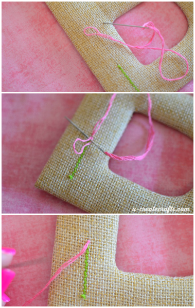 Stitching a flower on burlap
