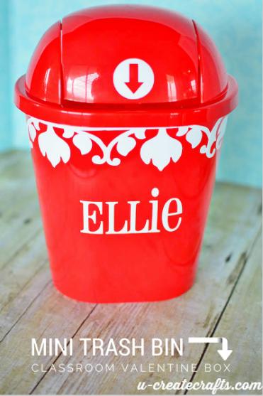 Mini trash can into Valentine Box by u-createcrafts.com