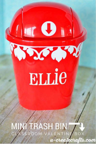 Mini trash can into Valentine Box by u-createcrafts.com