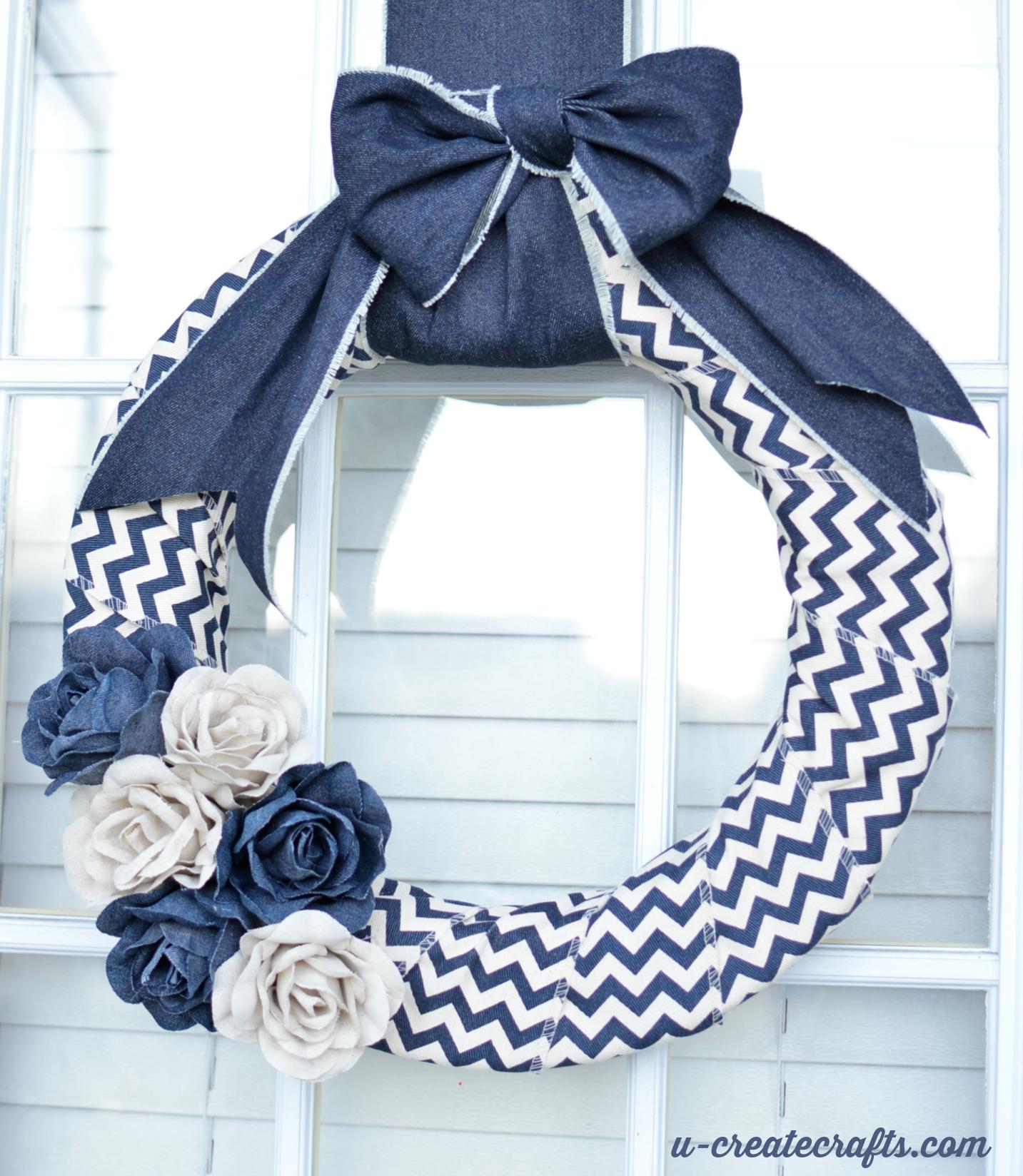 Denim Chevron Wreath Tutorial by U Create