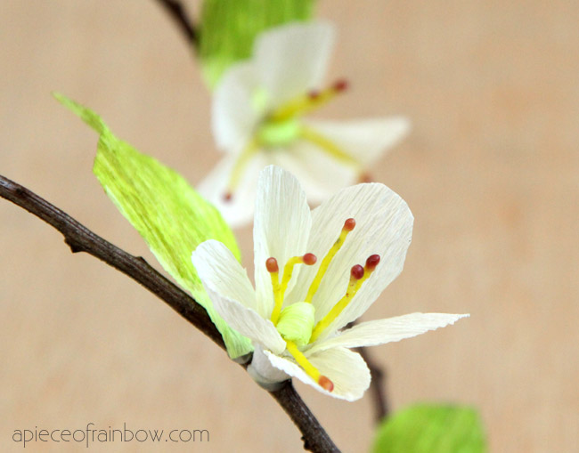 How to Make Paper Cherry Blossoms by A Piece of Rainbow