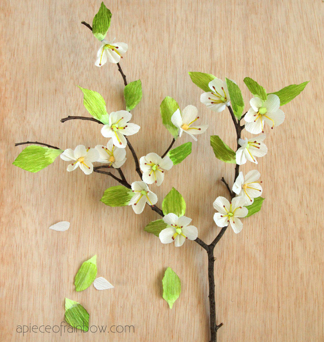 How to make paper cherry blossoms u create for Flower making at home