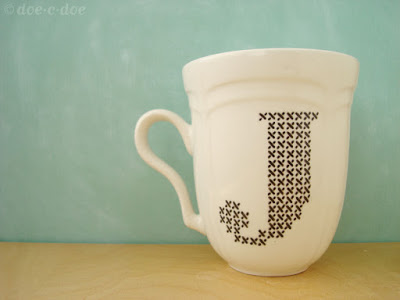 Painted Cross-stitch Monogram on Cup DoeCDoe