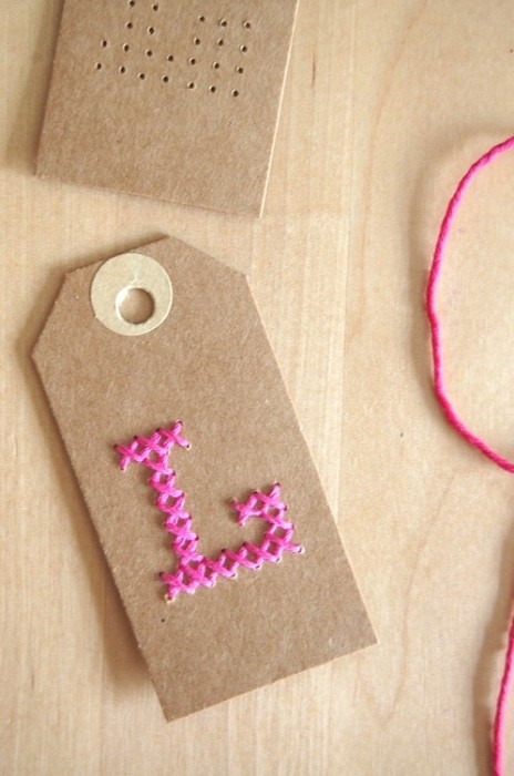 Stitched monogram tags at About the Nice THings