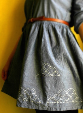 Stitching Clouds on skirt at Craftsy