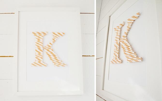 Straw Monogram Tutorial by  Pysselbolaget