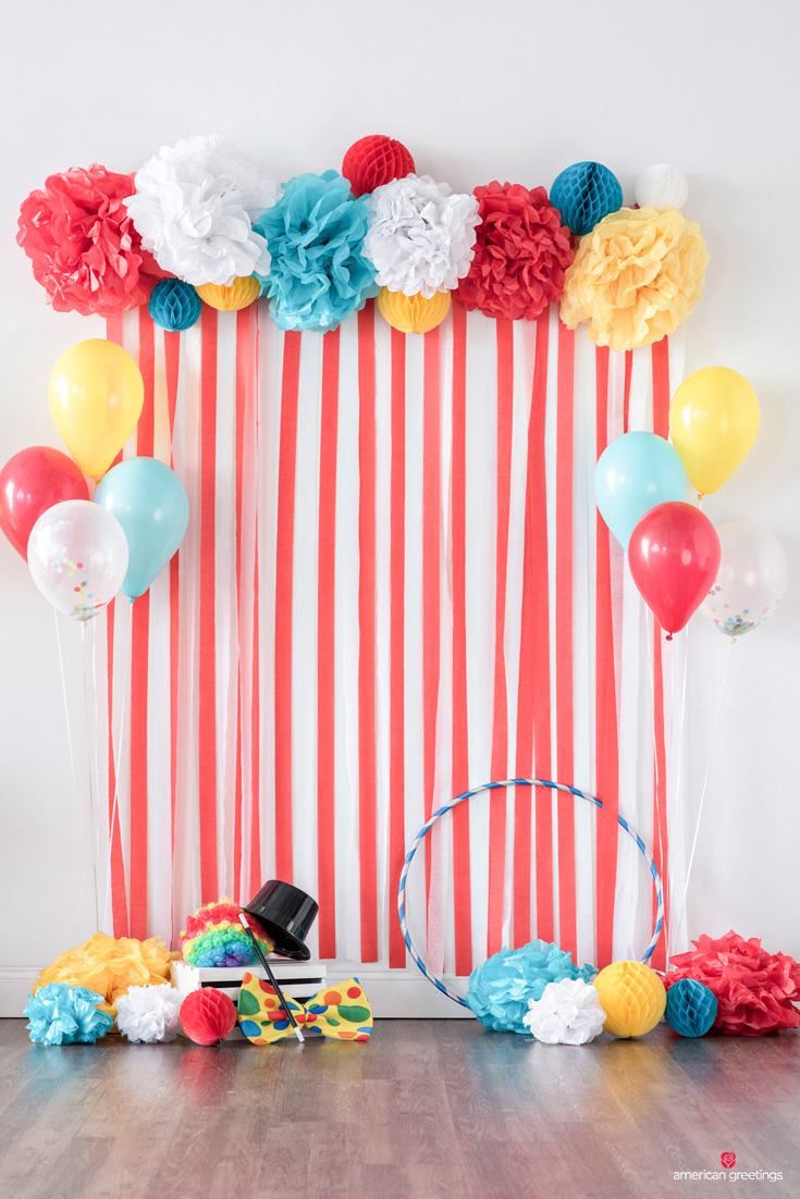 circus party backdrop and more circus party ideas