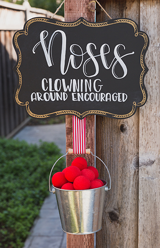 Bucket of Clown Noses for Guests - many other circus party ideas!