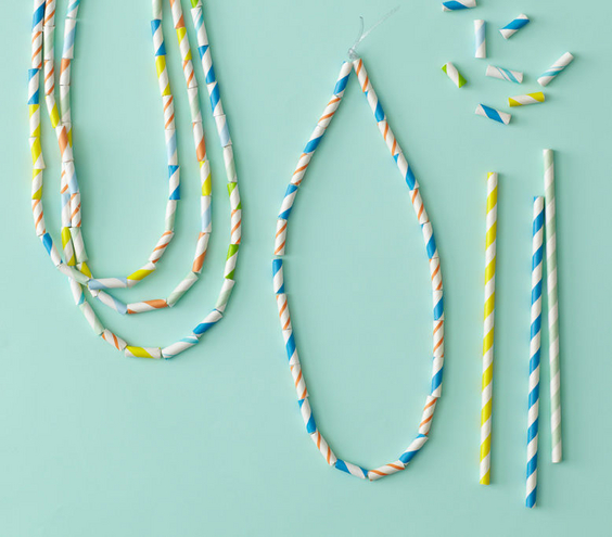 Paper Straw Necklaces by Real Simple