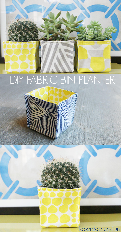 DIY Fabric Bin Planters by HaberdasheryFun
