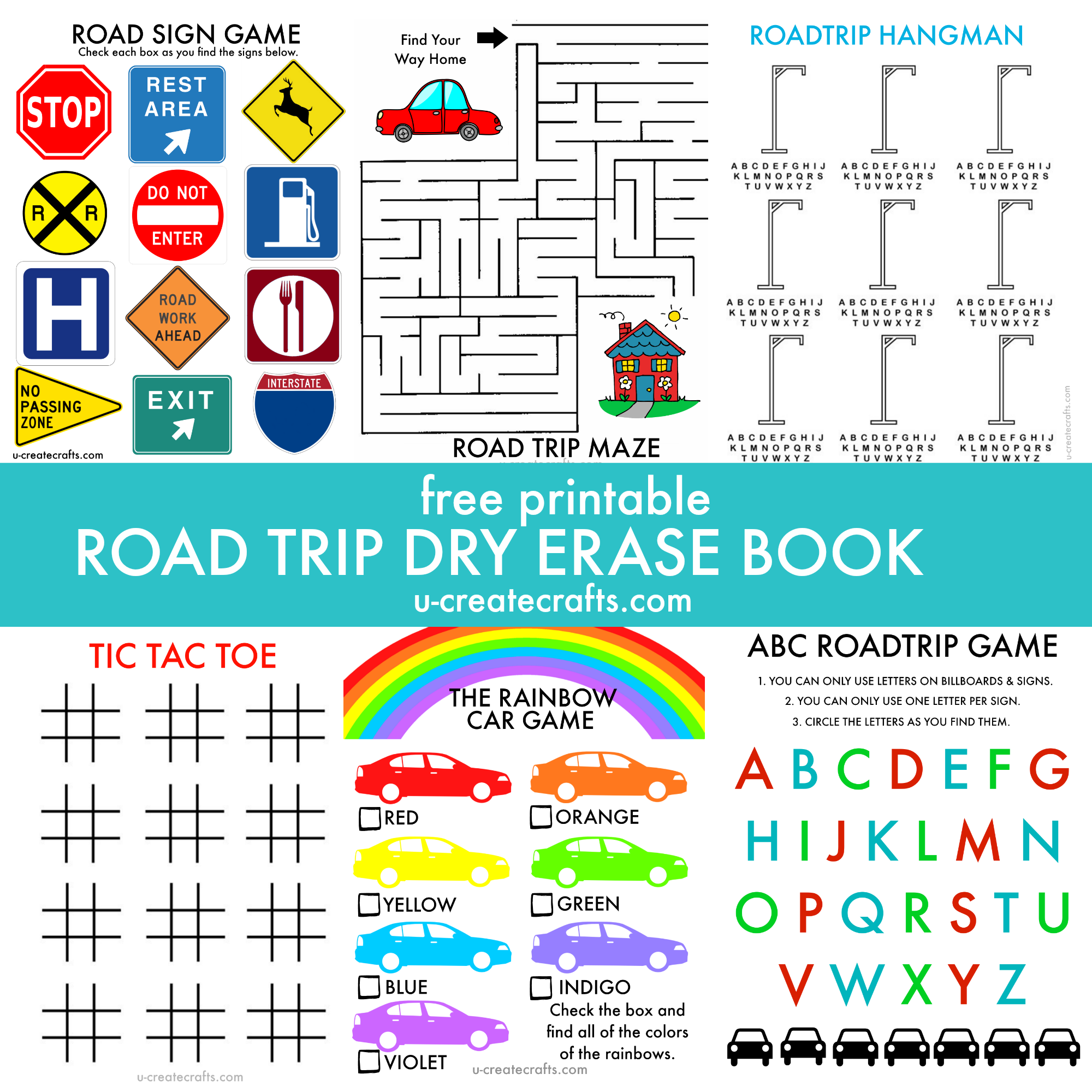 Free Printable ROAD TRIP activity book by U Create