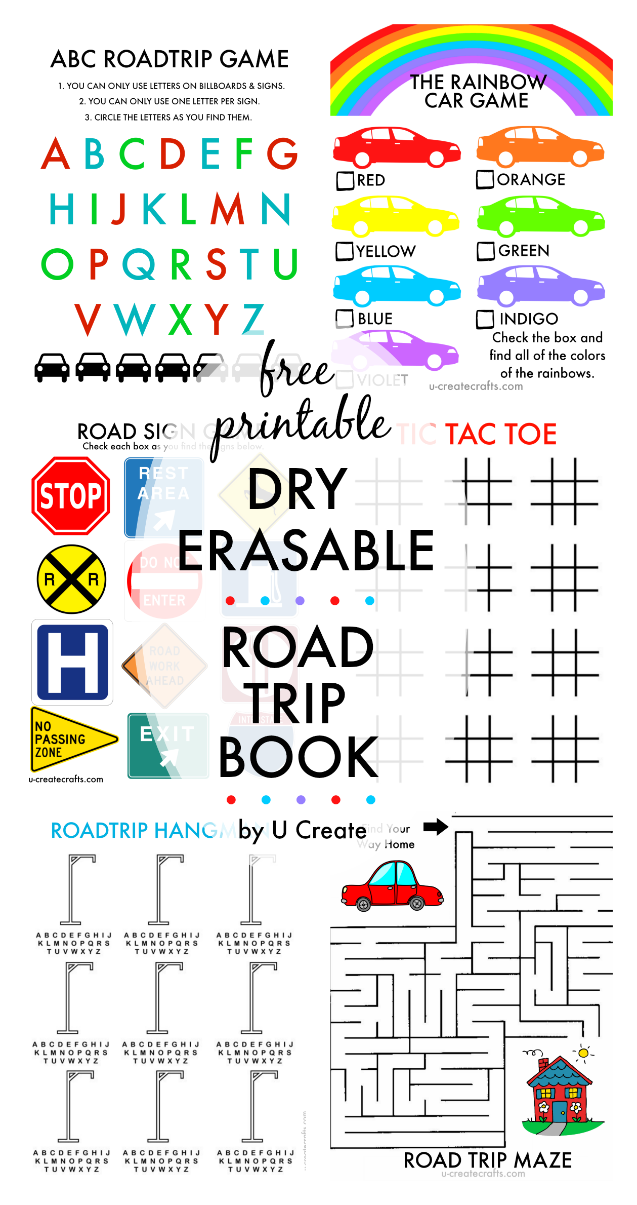 free printable dry erasable road trip book for kids by u create - Free Printable Books For Kids