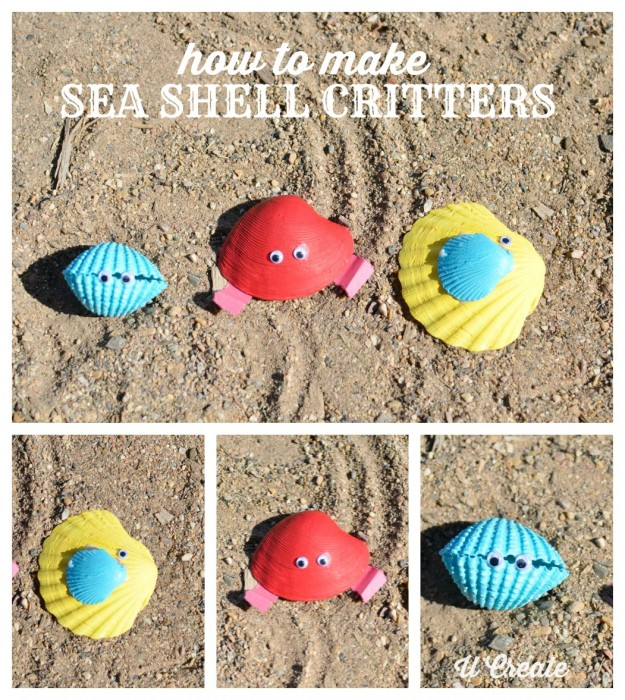 How to Make Sea Shell Critters - beach craft for the kids!