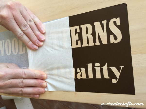 6 Applying Vinyl as stencil for table refinish