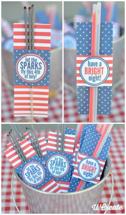 Free Printables for sparklers and glow sticks for the 4th of July - by U Create