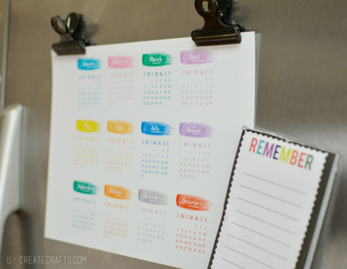 2016 Free Printable Yearly Calendar by U Create