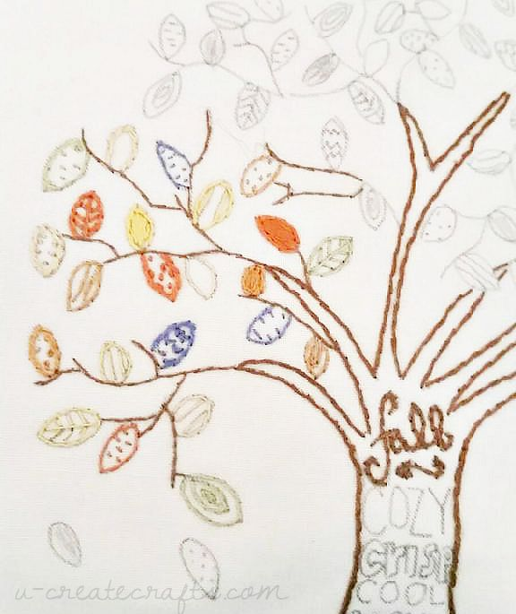 Fall Tree Free Pattern - Coloring Page, Free Stitchable, or Watercolor Printable - You CHOOSE!