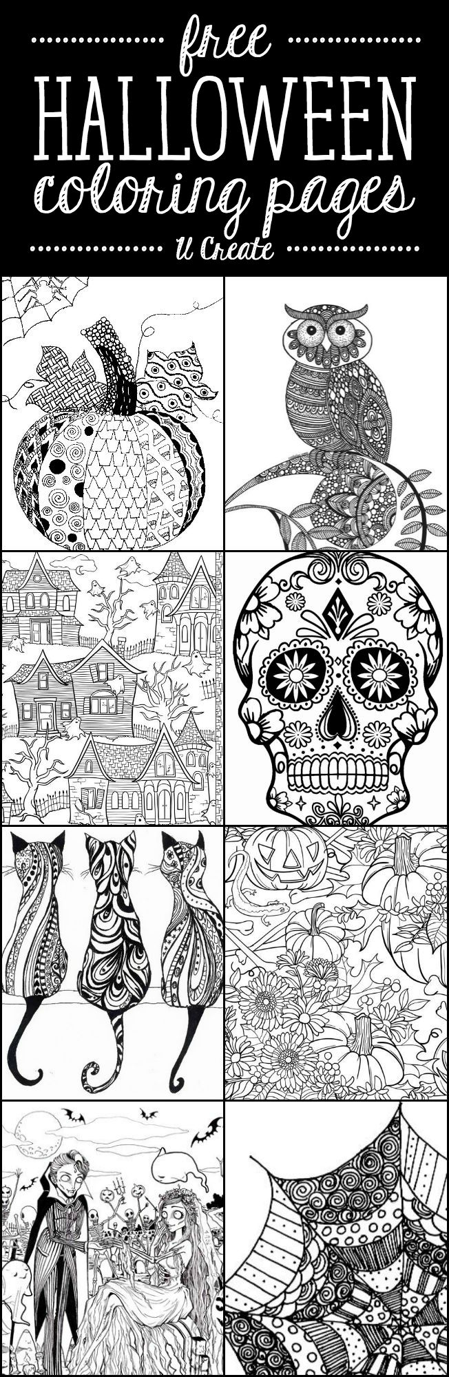 graphic relating to Coloring Pages Halloween Printable identify Free of charge Halloween Grownup Coloring Internet pages - U Crank out