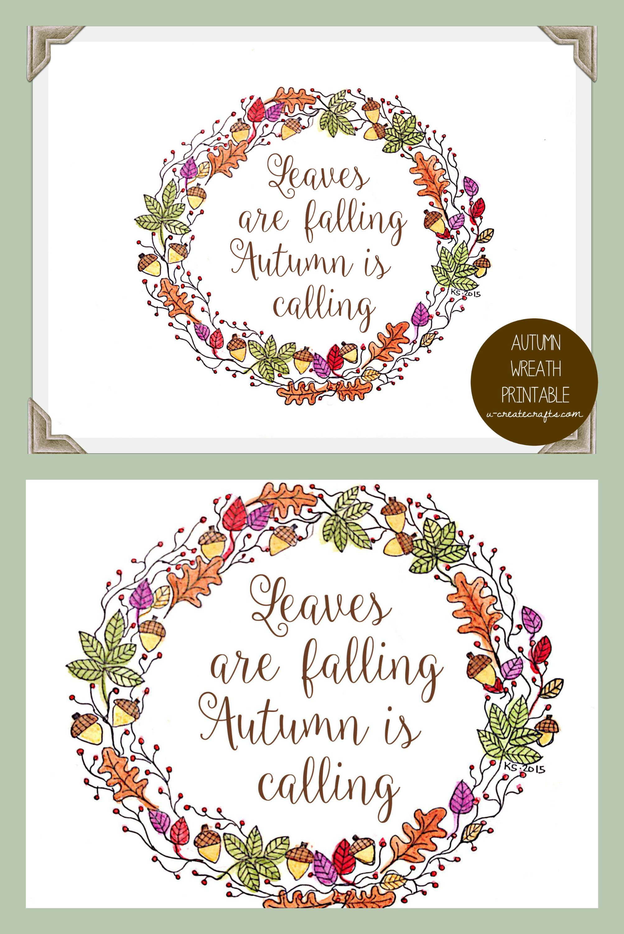 autumn wreath free printable