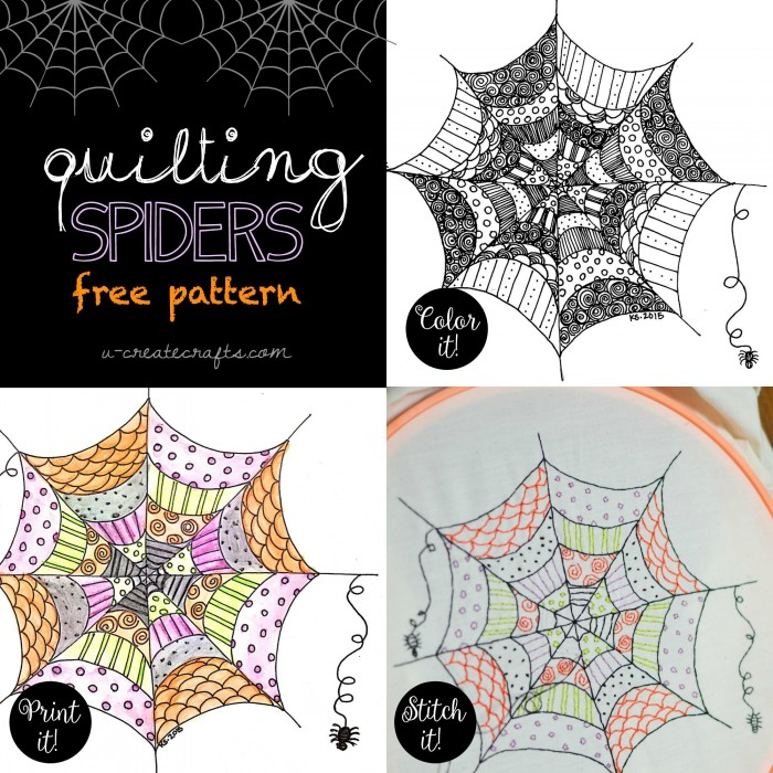 """Quilting Spiders"" free pattern by U Create - Color It, Print It, or Stitch It!"